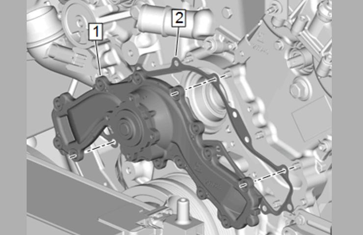 La bomba de agua crea condiciones de ruido de motor y crujido de la banda